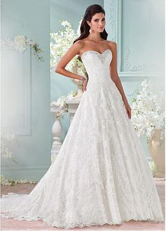Marvelous Tulle Sweetheart Neckline A-line Wedding Dresses with Lace Appliques
