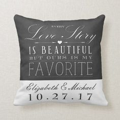 Shop Chalkboard Love Story Wedding Anniversary Pillow created by ModernMatrimony. Wedding Anniversary Celebration, Anniversary Dates, Love Story Wedding, Golf Wedding, Chalkboard Wedding, Wedding Pillows, Vintage Typography, Monogram Wedding, Love Messages