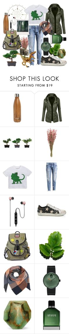 """""""adventure time"""" by iandcheshirecat ❤ liked on Polyvore featuring S'well, LE3NO, Nearly Natural, Rich & Royal, Polaroid, Like Dreams, Movado, SoapRocks, Armani Beauty and outfit"""