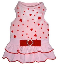 Pet Dress Designer Starlet Pink With Red Hearts