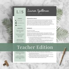 creative teacher resume template for word pages mac pc compatible instant download - Free Teaching Resume Template