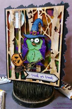 The Artful Maven Haven: A Bird Crazy Flying Witch Card!!!
