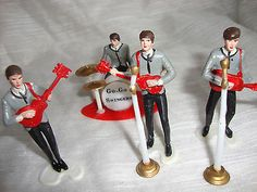 VINTAGE BEATLES Plastic CAKE TOPPERS Cake DECORATIONS THE BEATLES
