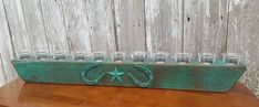 Wooden Candleholder handmade of cedar barnwood. Shop Name List, Rustic Candleholders, Wood Candle Holders, Fireplace Mantle, Dining Table In Kitchen, Handmade Items, Handmade Gifts, Barn Wood, Metal Art