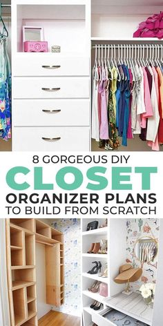 We found some great DIY closet organizer plans that anyone can use to build a custom organizer from scratch! So let's get to it! #closetideas #closet #closetorganizer #diyclosetorganizer #diyclosetorganizerideas #diyhomedecor #organizingideas #organizing #diy Closet Organizer With Drawers, Small Closet Organization, Diy Organization, Organizing, Built In Dresser, Closet Built Ins, Homemade Modern, Ikea Billy Bookcase, Build A Closet