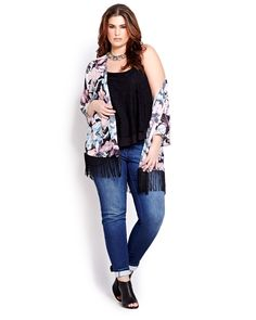 Floral fringe kimono for Spring 2015 from Addition Elle plus-size fashion. Keep an eye out for theses styles hitting stores & online starting at the end of January!