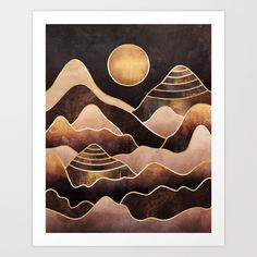 Buy Sunkissed Mountains Art Print by elisabethfredriksson. Worldwide shipping available at Society6.com. Just one of millions of high quality products available.