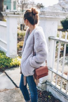 faux fur coat for a casual look