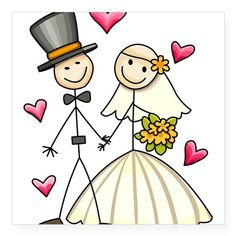 Wedding Gifts For Bride And Groom Bride and Groom Square Sticker x for Art Drawings For Kids, Doodle Drawings, Cartoon Drawings, Easy Drawings, Doodle Art, Art For Kids, Stick Figure Drawing, Wedding Gifts, Wedding Cards
