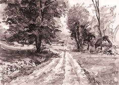 Walk through the countryside. Ink. Author: Witold Kubicha