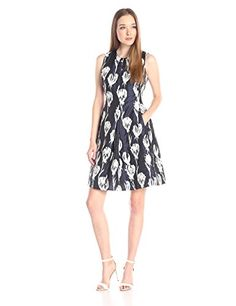 eb6efde98 Taylor Dresses Womens Fit and Flare Tulip Print Dress Navy Ivory 6 * Read  more at