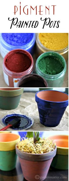 These pots are painted with non-toxic environmentally safe pigments. It's easy to do and they give you a nice earthy, rustic natural color. ~gardenmatter.com