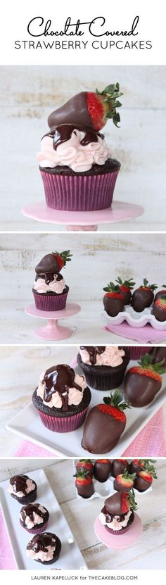 Chocolate Covered Strawberry Cupcakes   by Lauren Kapeluck for http://TheCakeBlog.com
