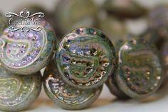 NEW Czech Snake Coin Bead Light Yellow Matte Picasso by CzechLaVie, $3.15