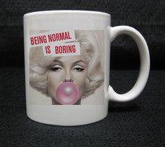 Marilyn Monroe With Pink Bubblegum mug cup two side ceramic 11oz