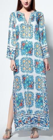 Beaded Print Long Maxi Tunic Dress-Multi Color