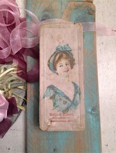 Lovely Antique Candy Box, Shabby, Cardboard, Pretty Edwardian Lady in Blue, Romantic Décor, Vintage Boho Chic, Cottage Chic, Kaler & Ackron