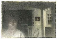 """Charles Ritchie Graphite Night III, Work in Progress 4 x 6"""" graphite and watercolor on Fabriano paper, 2011"""