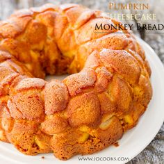 Pumpkin Cheesecake Monkey Bread   A childhood favorite, Monkey Bread gets an autumn touch with the addition of delicious pumpkin and cream cheese. It's a multi layered dessert that is fantastic! @jocooks