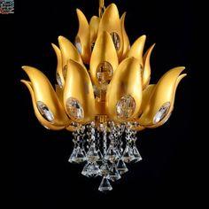 Floral Design Gold Crystal Chandelier light / Lamp/ lighting fixture Gold color Light for Lobby, Foyer, Staircase Crystal Chandelier Lighting, Chandeliers, Light Eyebrows, Foyer Staircase, Lamp Light, Light Colors, Light Fixtures, Floral Design, Ceiling Lights