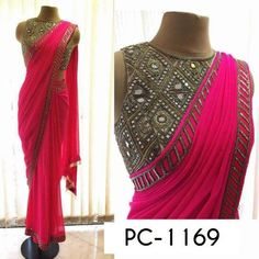 arpitamehta_am: There's never a dull day at our studio! Seen here is a vibrant Happy pink georgette sari with our Dibbi blouse with fringe tassels Mirror Work Saree, Mirror Work Blouse, Saree Blouse Patterns, Saree Blouse Designs, Indian Attire, Indian Ethnic Wear, Plain Saree With Heavy Blouse, Plain Chiffon Saree, Plain Georgette Saree