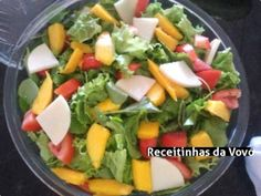 Receita Salada de Manga Raw Food Recipes, Salad Recipes, Vegetarian Recipes, Cooking Recipes, Healthy Recipes, I Love Food, Good Food, Light Recipes, Food Inspiration