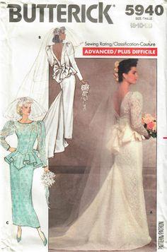 Peplum Wedding Gowns, Vogue Wedding Dress Patterns, Fitted Wedding Gown, Wedding Dress Train, Bridal Dresses, Vintage Bridal, Dress Vintage, Couture, Fishtail