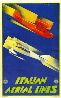 Di Lazzaro, Italian Aerial Lines / Art Deco Poster / Airplane Travel Art Deco Posters, Cool Posters, Space Posters, Poster Ads, Advertising Poster, Vintage Advertisements, Vintage Ads, Vintage Airline, Vintage Trends
