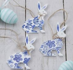 Easter Bunny Decorations Set of Three by HandmadeByTCH on Etsy