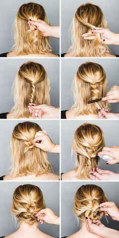 Updos For Medium Hair - Stylized Rope Braid Bun