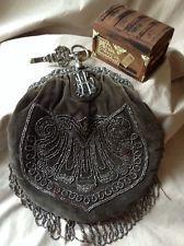 1860's Dutch Silver Chatelaine Velvet Bag W/ Hook & Bead Work Dolphin Hallmark