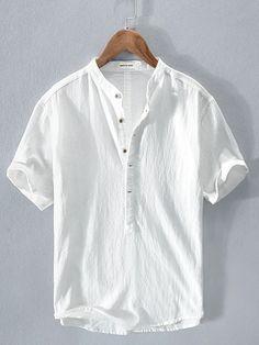Cheap Mens Shirts, Mens Shirts Online, Casual Shirts For Men, Casual Tops, White Beach Shirt, White Linen Shirt, Mens Designer Shirts, Designer Clothes For Men, Chinoiserie
