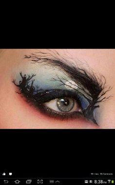 Eye night time tree makeup art. awesome brow use.