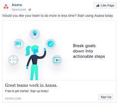 best facebook ads Asana Best Facebook, Social Media Ad, Advertising, Ads, Great Team, Asana, Teamwork, Get Started, Digital Marketing
