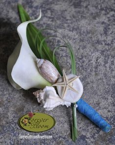 Beach Themed Real Touch Silk Flower Wedding Boutonniere, using white real touch calla lily and sea shells for accents. Prom Flowers, Silk Flowers, Wedding Flowers, Beach Wedding Groomsmen, Groom And Groomsmen, Ocean Blue Weddings, Tropical Weddings, Our Wedding, Dream Wedding