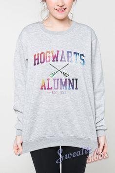 Hogwarts Alumni Galaxy Sweater Harry Potter Movie College Women Shirt T-Shirt Tshirt Grey Sweatshirts Jumpers Unisex Size S M L