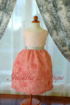 Sparkly pink rosette diamond Easter dress or a flower girl dress, girl dress for a special occasion like Birthday party, church, wedding. $118.00, via Etsy.
