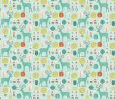 Retro Deer fabric by bethan_janine on Spoonflower - custom fabric