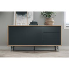 Give your living room a stylish look with the dresser Flow by Tenzo! This Scandinavian sideboard has a slim wooden frame with black fronts and small metal legs. Sideboard Design, Sideboard Furniture, Plywood Furniture, Modern Furniture, Home Furniture, Furniture Design, Retro Sideboard, Large Sideboard, Modern Sideboard