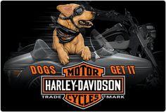 Harley Davidson Side Dog Embossed Tin Sign Ande Rooney Signs