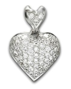 Estate 'Birks' Diamond Heart Pendant Diamond Heart, Heart Ring, Pendant Set, White Gold, Jewels, Rings, Collection, Color, Jewerly