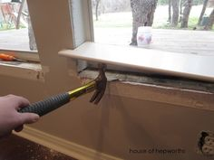 How to replace windowsill PLUS beautiful diy craftsman style moulding Renovieren Craftsman style moulding makes me happy Interior Window Sill, Interior Windows, Window Sill Trim, Window Trims, Door Trims, Interior Trim, Interior Design, Interior Paint, Craftsman Remodel