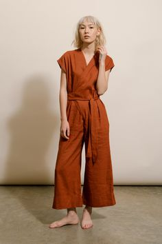 Goodwin | Rust Wrap Jumpsuit
