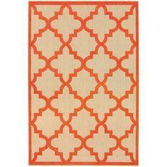 """Style Haven Quatrafoil Lattice Sand/Orange Polypropylene Indoor/Outdoor Rug (7'10 x 10'10) (7'10"""" X 10'10""""), Beige"""