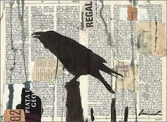 Items similar to Print Art Mixed Media Art Collage Raven Crow Painting Illustration Gift One of A Kind Autographed by artist Emanuel M. Ologeanu on Etsy Crow Art, Raven Art, Bird Art, Collage Kunst, Collage Art Mixed Media, Collage Collage, Crow Painting, Painting Collage, Acrylic Paintings