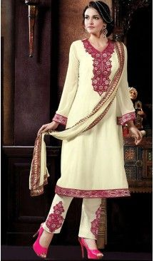 Cream Color Georgette Straight Cut Stitched Narrow Pants Dress   FH468572856 #pakistani , #evening , #dress , #heenastyle , #party , #wear , #anarkali , #salwar , #kameez , #dupatta , #churidar , #suit , #fashion , #online , #shopping , #casual , #designer , @heenastyle , #store, #shop , #boutique , #straight , #georgette , #fabric , #readymade #ethinic #formal , #punjabi , #patiyala , #gowns , #plazzo