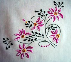 Krakowske wzory do haftowania Krakow fabric pattern details Hand Embroidery Patterns Flowers, Basic Embroidery Stitches, Hand Embroidery Videos, Hand Embroidery Tutorial, Embroidery Flowers Pattern, Simple Embroidery, Embroidery Neck Designs, Cross Stitch Embroidery, Machine Embroidery