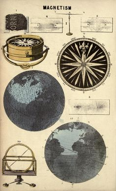 Magnetism: vintage illustration, from Reynolds's Universal Atlas (Popular Astronomy) by James Reynolds, 1878.