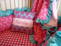 Custom Crib Bedding Set  Bright Pink and Turquoise. SO CUTE!