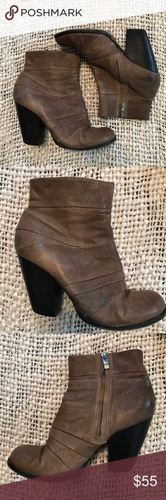 """Vince Camuto """"Belta"""" leather ankle bootie size 8 Beautiful pair of leather booties/ankle boots from Vince Camuto. Size 8 they are just a tad too small for me because I'm an 8.5. Great used condition. Could use new heel plates eventually, an inexpensive fix. These are brown with just a hint of grey in them. Heel is 3.75"""" tall. Vince Camuto Shoes Ankle Boots & Booties"""